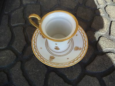 VTG HAND PAINTE LIMOGES FRANCE TEA CUP & SAUCER w/ GOLD  BEES MINT