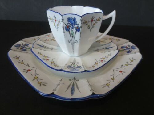 Art Deco Shelley China Blue Iris Coffee Trio Cup Saucer Plate 11561 Queen Anne