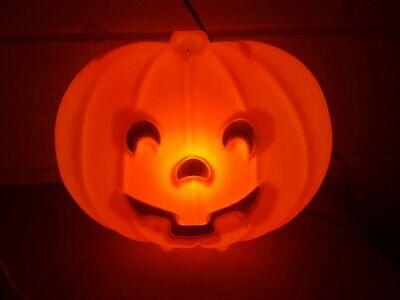 Vintage Halloween Lighted Blow Mold Window Sitter Pumpkin 8 inch