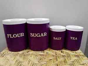 Vintage Rare PURPLE Shannon Design Australia Canisters x 4 Campbellfield Hume Area Preview