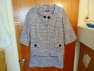 Womens Metro Style Size 12 2 Piece Black & White Blazer Jacket & Skirt Set
