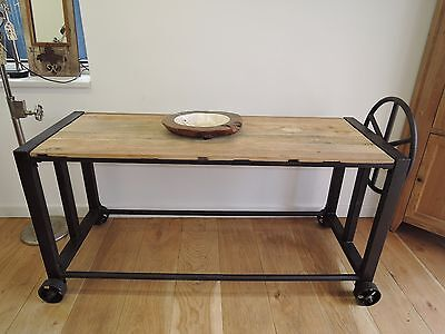 RECLAIMED INDUSTRIAL STEEL & WOOD TOP CONSOLE /TABLE, WORK BENCH ETC WITH WHEELS