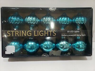 Christmas BATTERY OPERATED Turquoise Ornaments String Lights NEW ()