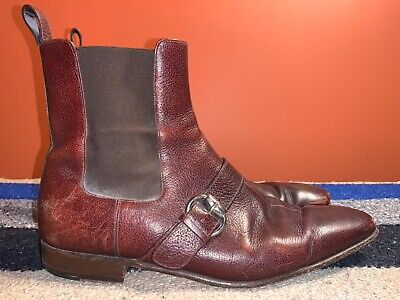 Men's VTG Gucci Pull on ankle Buckle Boots size 10.5 D Italy