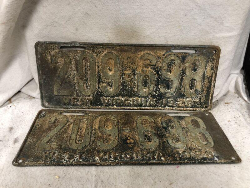 Vintage 1928 West Virginia License Plate Pair