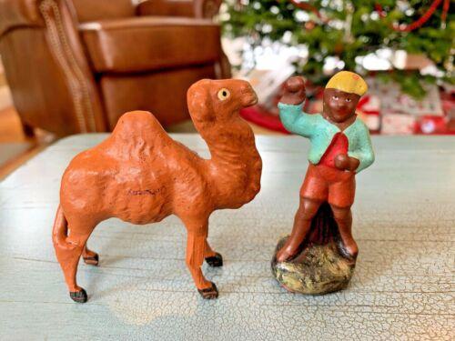 2 Putz Nativity Stick Leg Camel And Camel Driver Figures Germany Composition