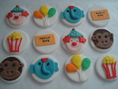 12 circus themed sugar cake,cupcake toppers decorations