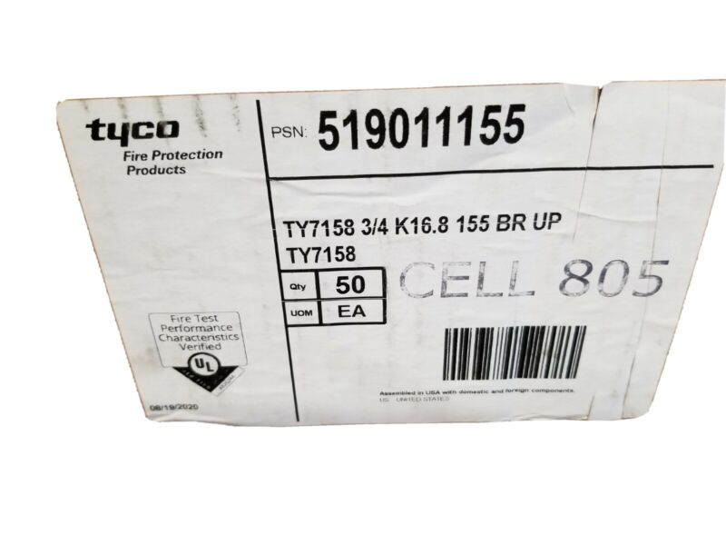 Case 50 TYCO Automatic Sprinkler Heads TY7158 3/4 k16.8 155 BR UP NEW 2020