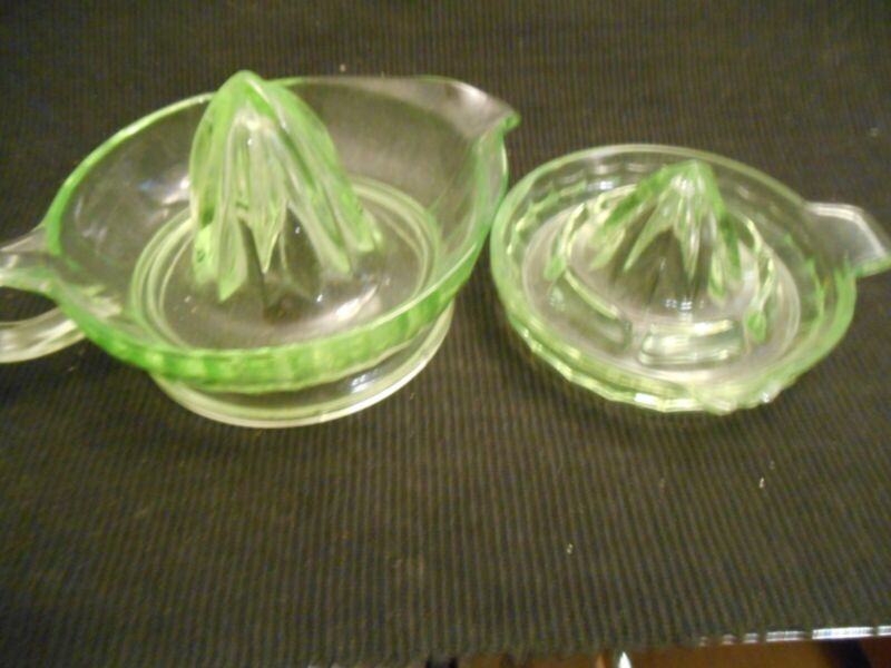 Vintage Depression Era Green Glass Juice Reemer 2 sizes Sold Together