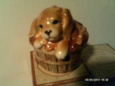 VINTAGE 1984 AVON BASKET OF FUN (DOG) CERAMIC POMANDER-NEW IN BOX-FREE SHIPPING