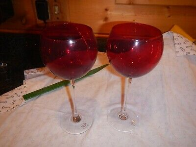 Pair Tall LENOX CRYSTAL Ruby Red Crystal Blown Glass Balloon Wine Goblet set of2