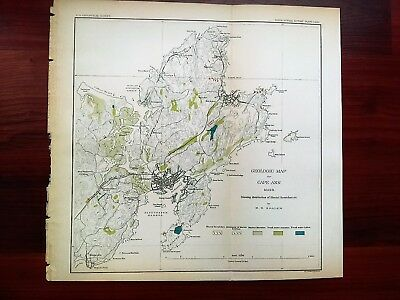 1887 Geological Map of Cape Ann Massachusetts Long Beach Gloucester Harbor