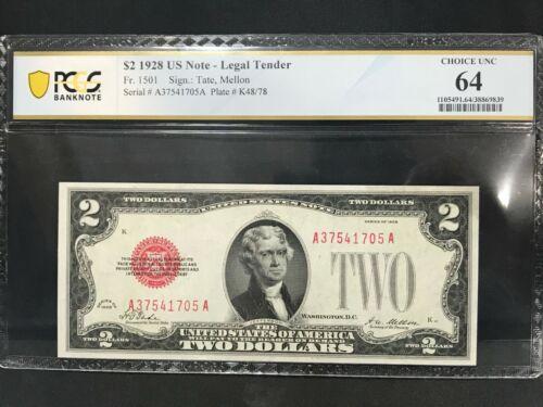 $2 LEGAL TENDER 1928 FR 1501 PCGS CHOICE UNC 64 37541705A