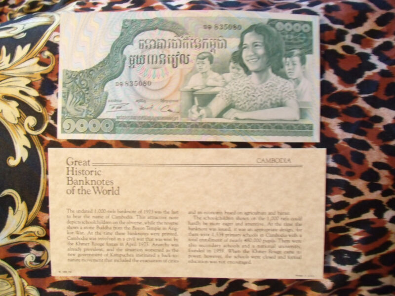 Great Historic Banknotes Cambodia 1000 Riels1973 P17 UNC