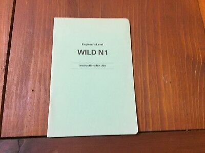 Wild Heerbrugg N1 Engineers Level Instructions For Use Surveyor