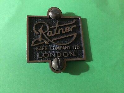 Original genuine old  Brass Safe Plaque ratner safe company LTD london