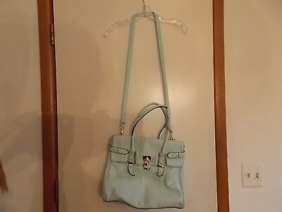 Aldo Top Handle Satchel Handbag With Padlock Tote Purse Light Green