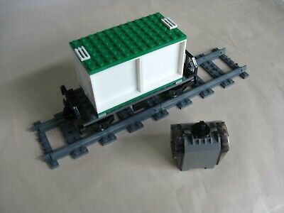 Lego CITY TRAIN: Custom FLATBED RAIL CAR w/ SHIPPING CONTAINER & GENERATOR...VG