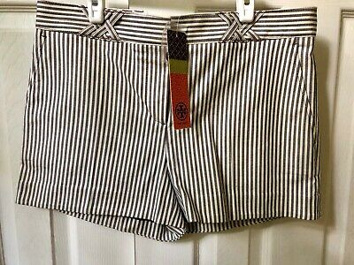 New With Tag Tory Burch Sarah Jane Tory Navy Dover Striped Shorts Size  8