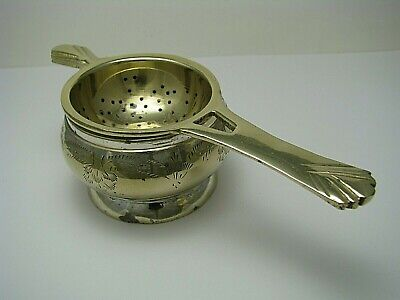 Silver Plated w// Drip Bowl Antique Reproduction Tea Strainer Charing Cross