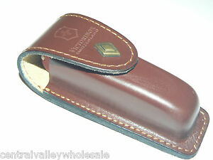 New Victorinox Swiss Army 91mm Knife Ruby Huntsman Leather