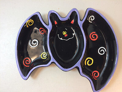 BLACK BAT HALLOWEEN CERAMIC SHALLOW CANDY DISH