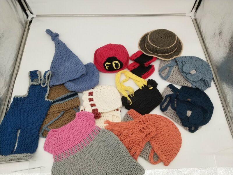 Lot Of Handmade Crochet Newborn Photo Prop Outfits.
