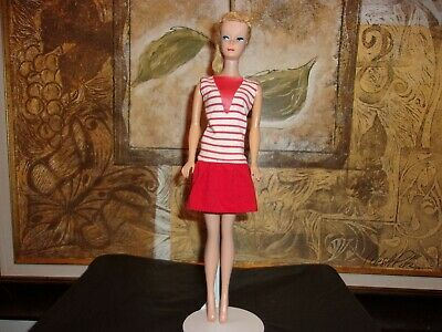 VTG 1960 BLONDE PONYTAIL BARBIE DOLL #4 JAPAN~RED AND WHITE SAILOR DRESS #7902