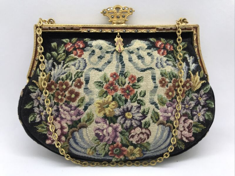 FAB! Antique Austrian Petit Point Floral Tapestry w Jeweled & Marcasite Frame