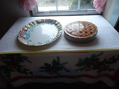 2 PC Vtg Plastic Large Decorative Thanksgiving Turkey Plate & Cooke Metal Box  - Thanksgiving Plastic Plates
