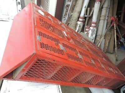Vintage Red Steel Cage Locker Industrial 78 34 High 36 Wide 12 Deep