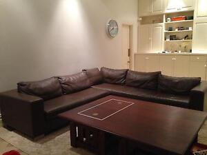 Leather lounge with chaise Dalkeith Nedlands Area Preview
