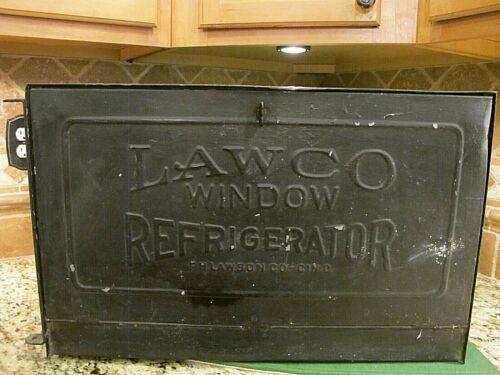 RARE ANTIQUE LAWCO WINDOW REFRIGERATOR FROM F.H. LAWSON CO.IN OHIO. LQQK