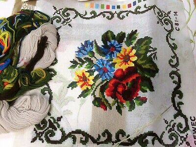 CEWEC Wool Tapestry Needlework Kit Panel/Cushion Cover Floral Part Completed