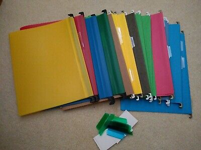 30 Assorted Letter Size Hanging File Folders - Plastic Yellow Blue Red Green