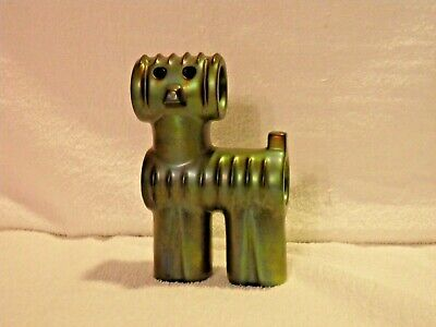 Zsolnay Hungary Iridescent Glazed Pottery Stylized Dog Eosin Green Vintage for sale  Shipping to South Africa