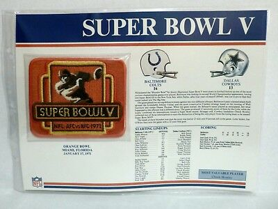 Willabee Ward Nfl Super Bowl V Colts Cowboys Patch On Fact Stat Card Rare