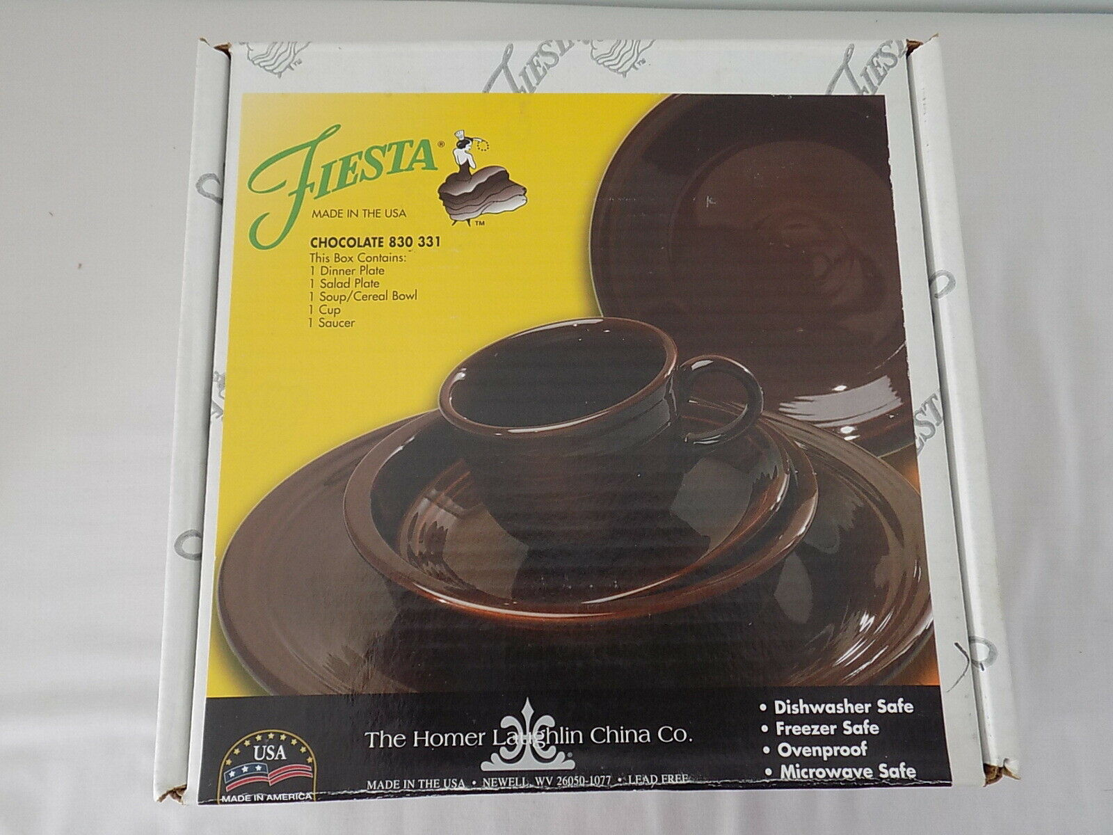 FIESTA WARE 5 PC PLACESETTING CHOCOLATE NEW - $99.99