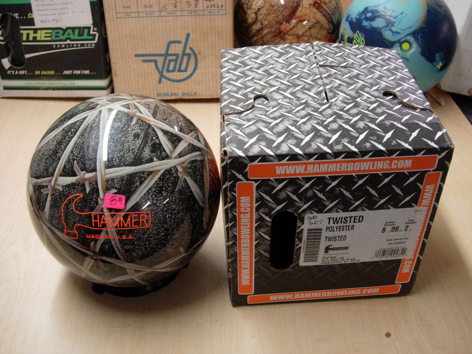 = 8 6oz Hammer Twisted Tough Clear Polyester Bowling Ball