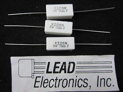 Qty 3 Resistor 5 Watt Cermet Wirewound Flameproof 75 Ohm 5 Axial Lead