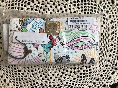 Disney Dooney & and Bourke Sketch Wallet Wristlet Castle Tink Zip Mickey Minnie