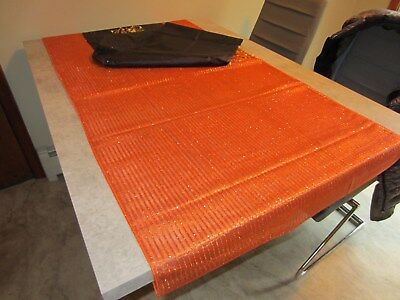 NWT Orange Table or dresser Runner scarf  large Qty. 3 and Qty. 3 solid black  (Orange Table Runner)