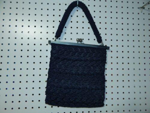 Vintage braided purse handbag- blue