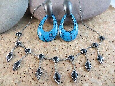 Vintage Blue Enamel Hoop Post Earrings & Black Dangle Necklace  #164