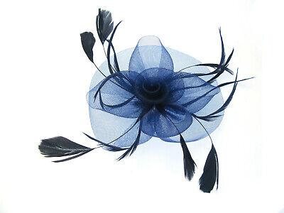 Grande Azul Marino y Negro Tocado con Clip, Bodas,Carreras,Graduación