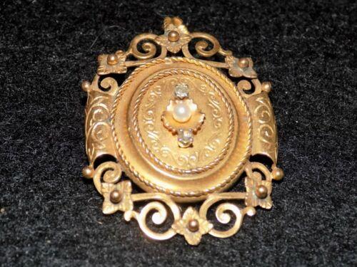 Vintage 1820 Georgian Tested 22k Gold 1 Real Pearl 2 Cut Diamonds Pin Pendant