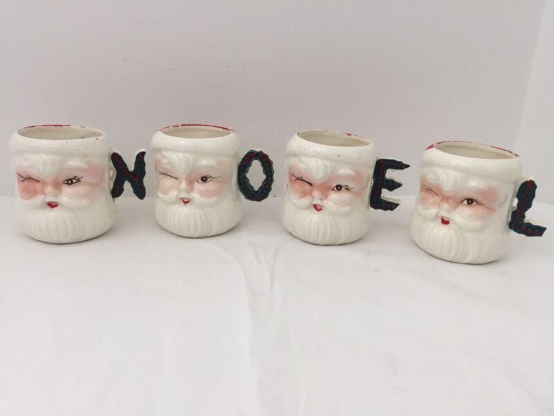 "VTG COMMODORE Ceramic Winking Santa Mug Cup Set (4) NOEL Handles 3 "" Tall Japan"