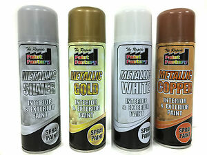 Metallic Spray Paint Interior Exterior Use Rapid Spray Tin Can Ebay