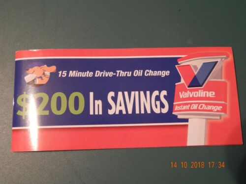 VALVOLINE INSTANT OIL CHANGE $200 IN SAVINGS COUPONS BOOKLET NEW NEVER USED