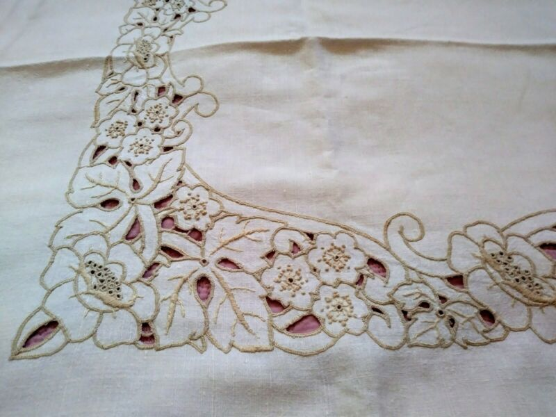 """Art Nouveau Embroidered Cutwork Madeira Style Floral Linen Tablecloth 65""""x52"""""""